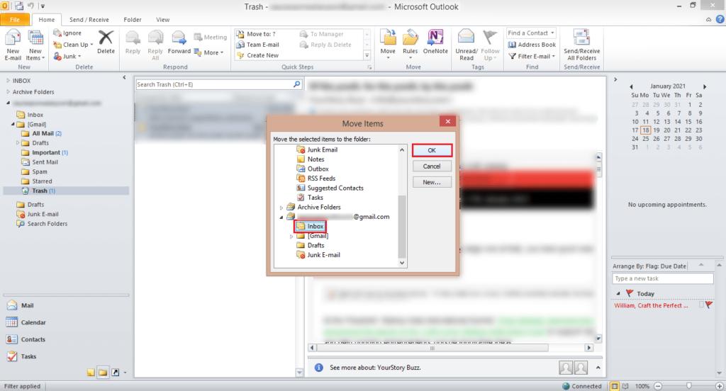 select inbox folder