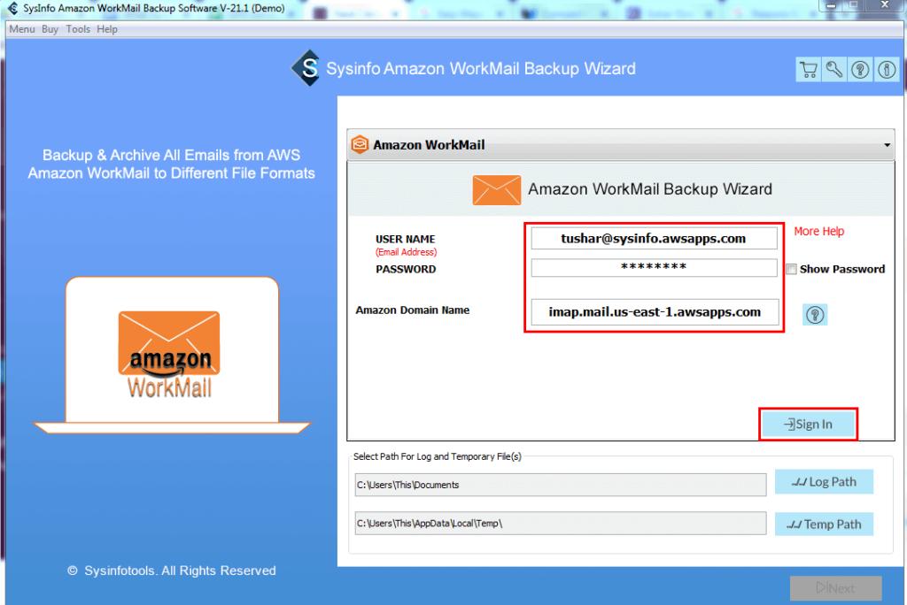 SysInfo Amazon Workmail Backup