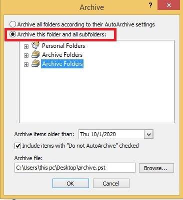 archive thisfolder option