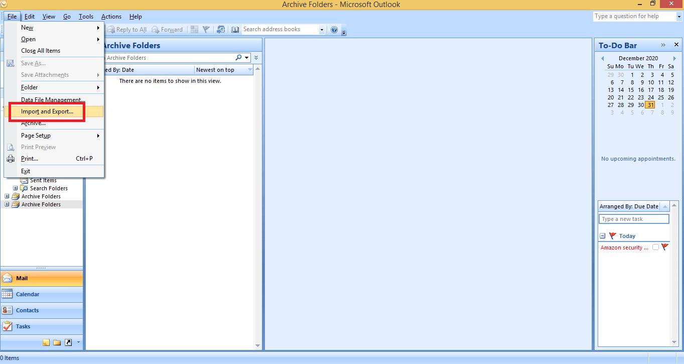 import export option